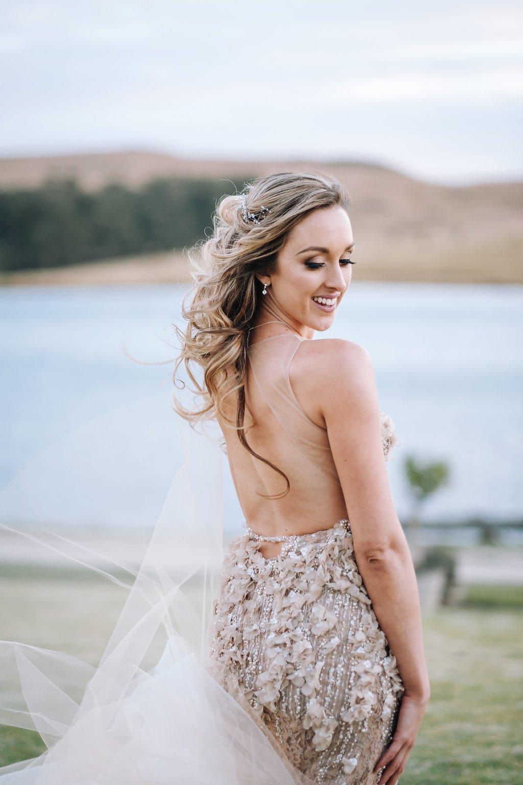 Embellished Champagne Bridal Reception Dress | Image: The Shank Tank