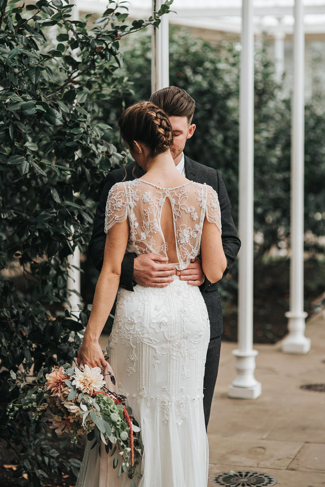 Jenny Packham Wedding Dress with Lace Overlay and Back Detail | Image: Pear & Bear Photography