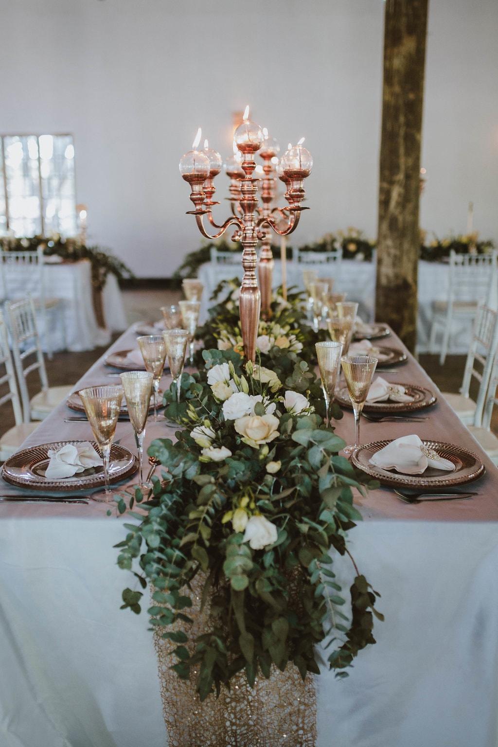 Sequin Linens & Rose Gold Candelabra | Image: Jessica J Photography