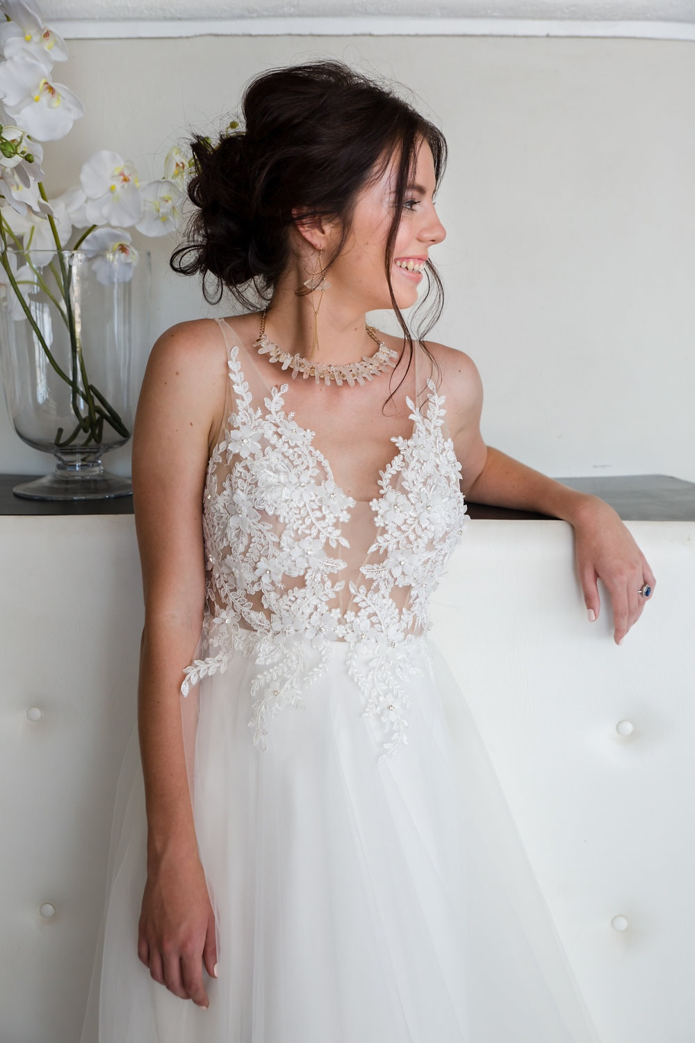 Cindy Bam Sheer Bodice Wedding Dress with Tulle Skirt | Image: Jaqui Franco