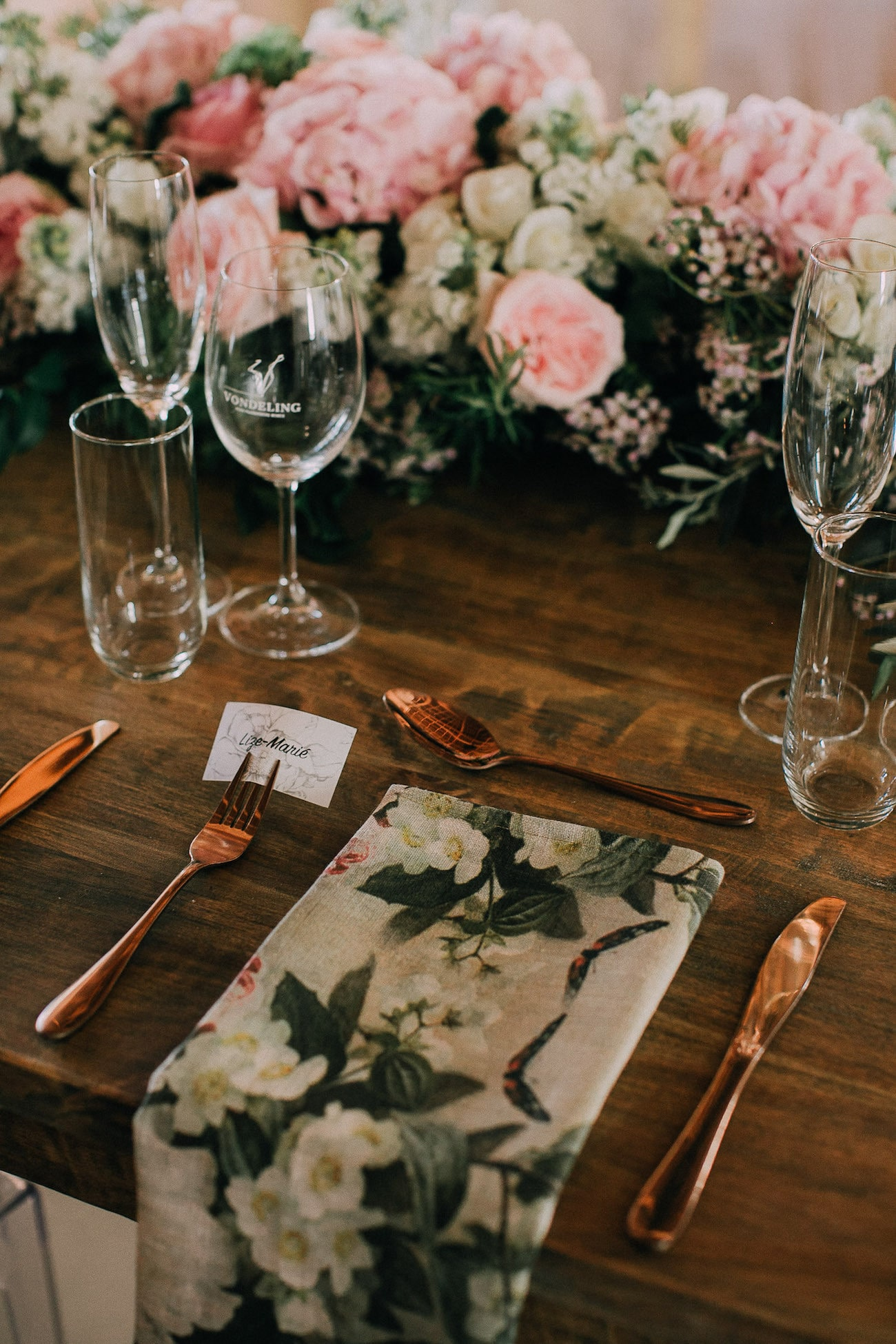 Place Setting with Botanical Linens & Copper Cutlery | Image: Michelle du Toit
