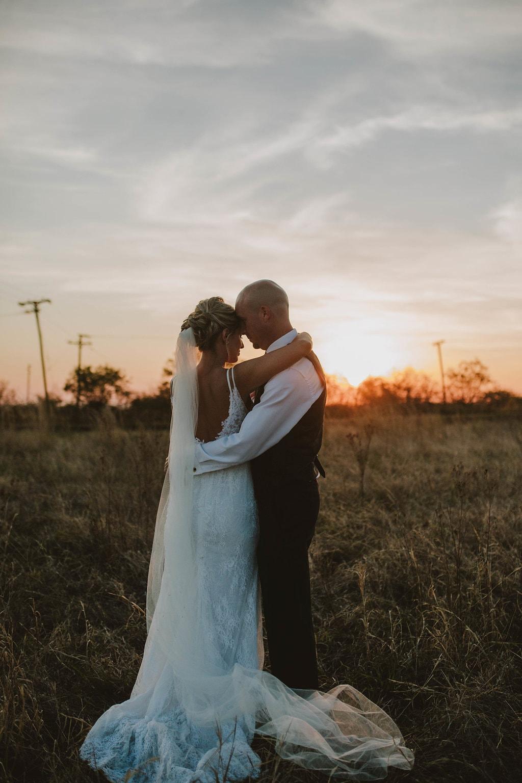 Sunset Portrait of Bride & Groom | Image: Jessica J Photography