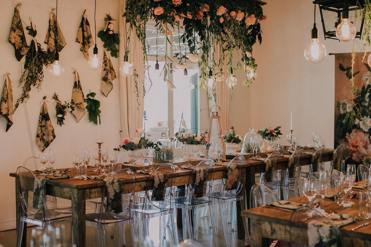 Whimsical Botanical Rustic Wedding Reception | Image: Michelle du Toit