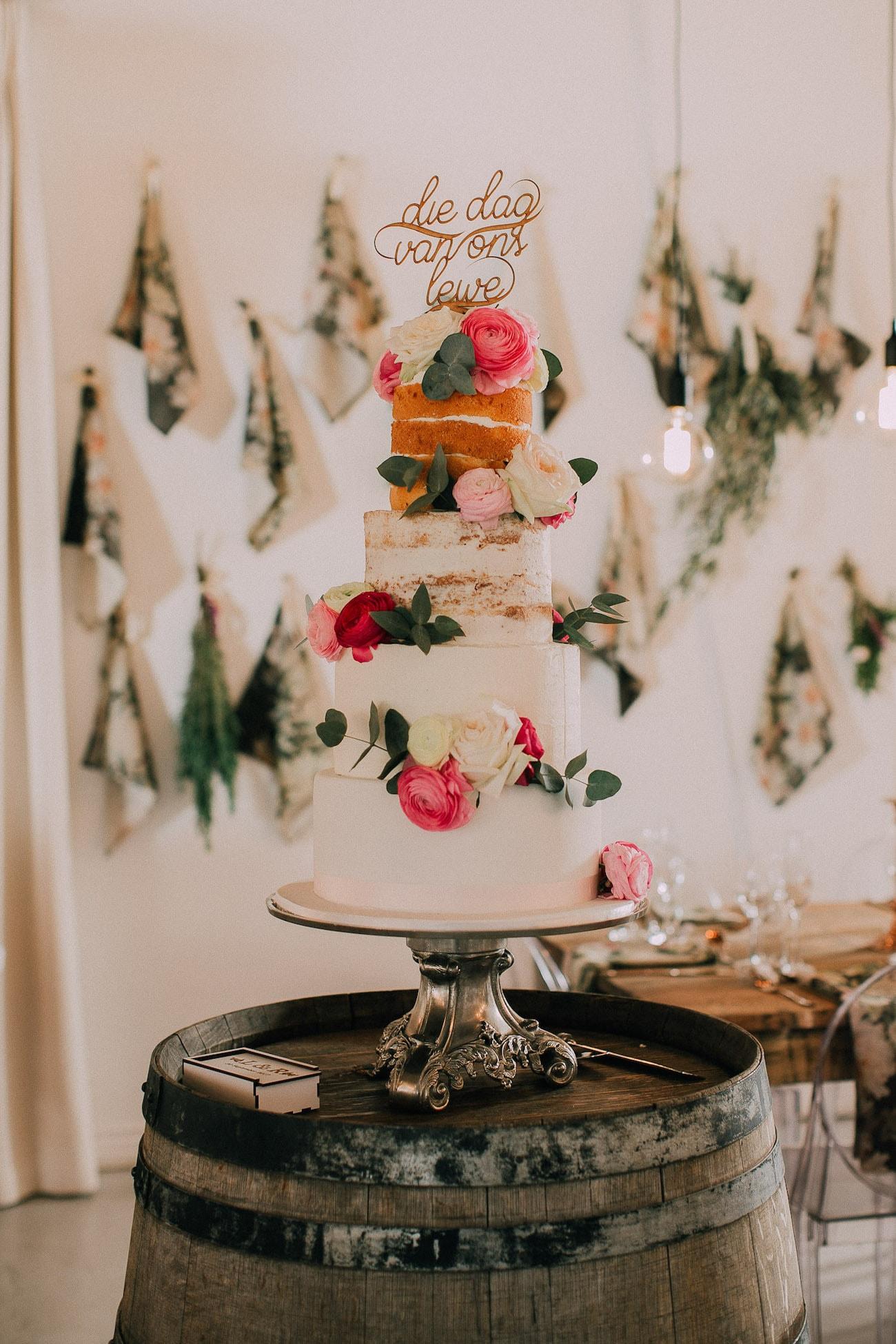 Semi Naked Wedding Cake | Image: Michelle du Toit