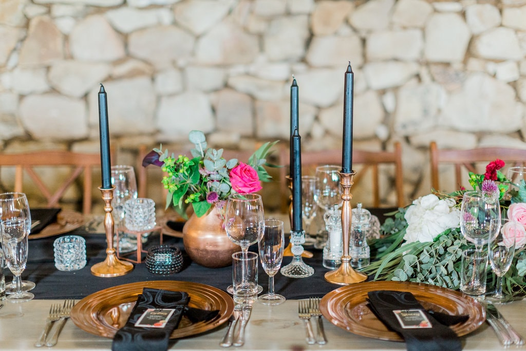 Dark & Moody Jewel Tone Tablescape | Image: Grace Studios