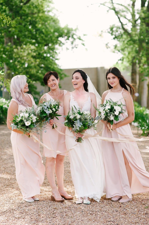 Mismatched Blush Bridesmaid Dresses | Image: Cheryl McEwan