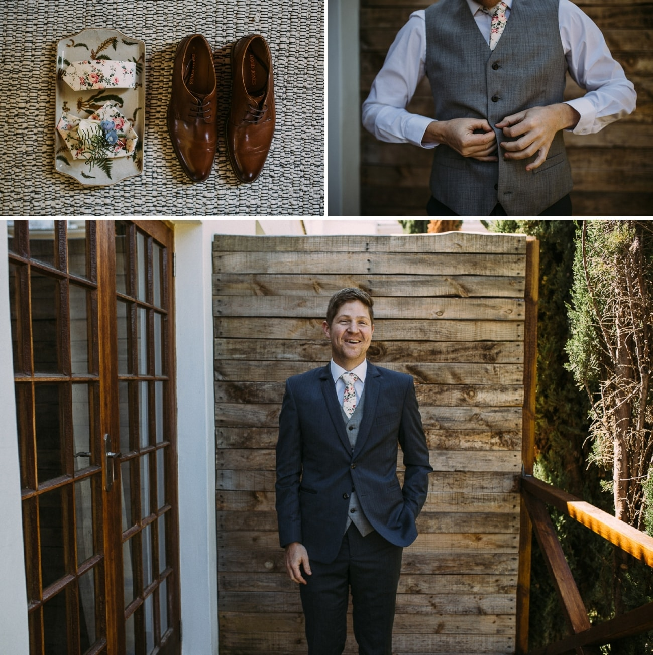 Groom in Floral Tie | Image: Hayley Takes Photos