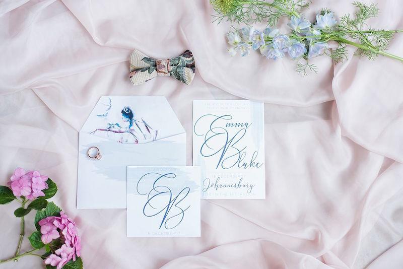 Pastel Wedding Stationery with Bird | Image: Marilize Coetzee