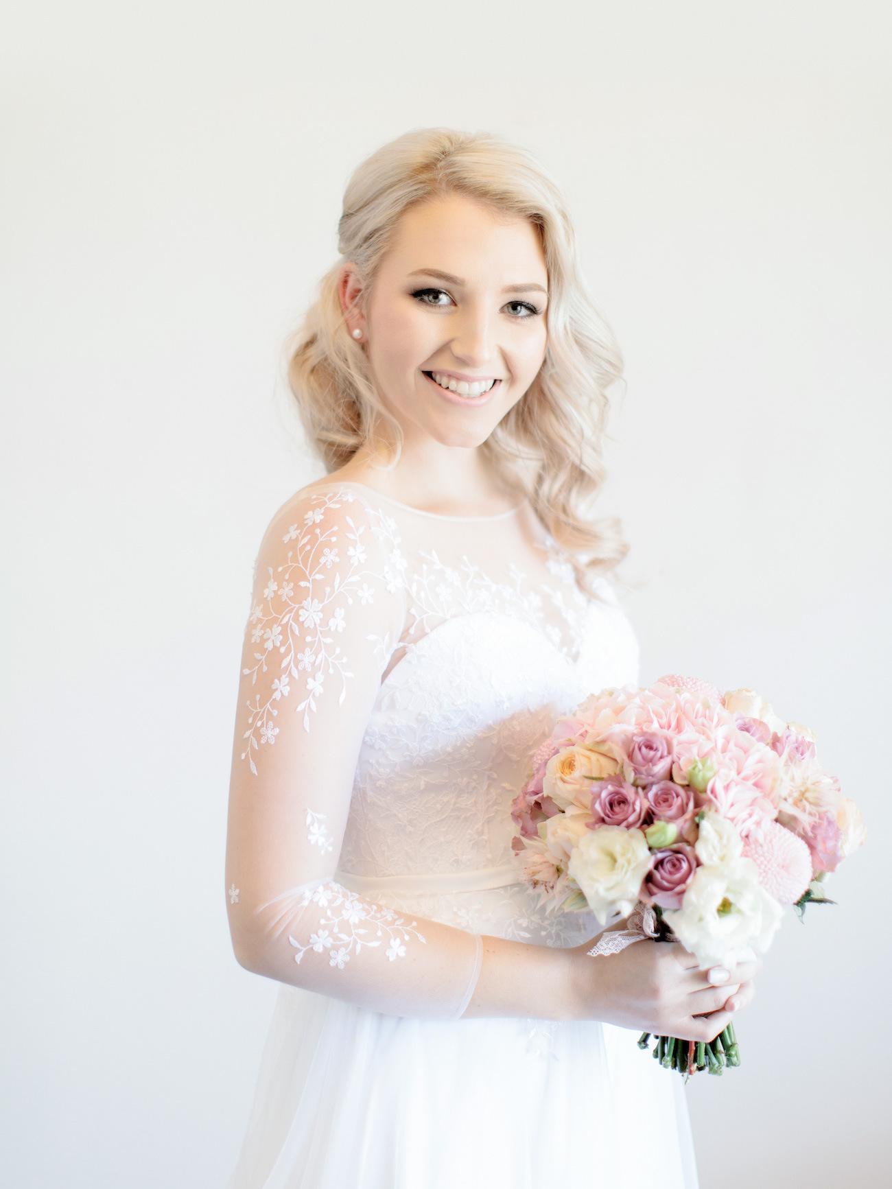 Illusion Floral Detail Wedding Dress | Image: Rensche Mari