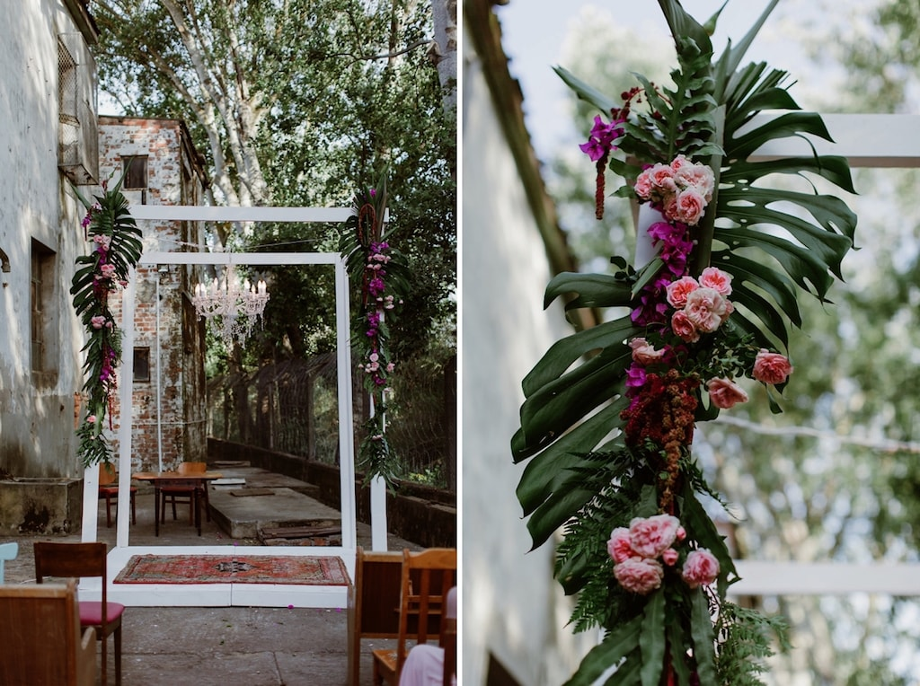 Tropical Foliage Wedding Arch | Image: Jenni Elizabeth