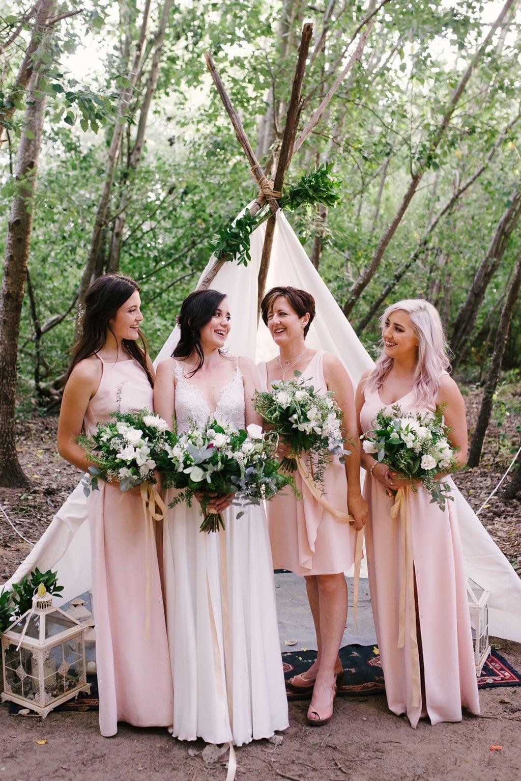 Bridesmaids in Front of Boho Tipi | Image: Cheryl McEwan