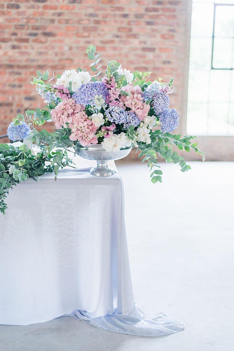 Pastel Hydrangea Wedding Centerpiece | Image: Marilize Coetzee