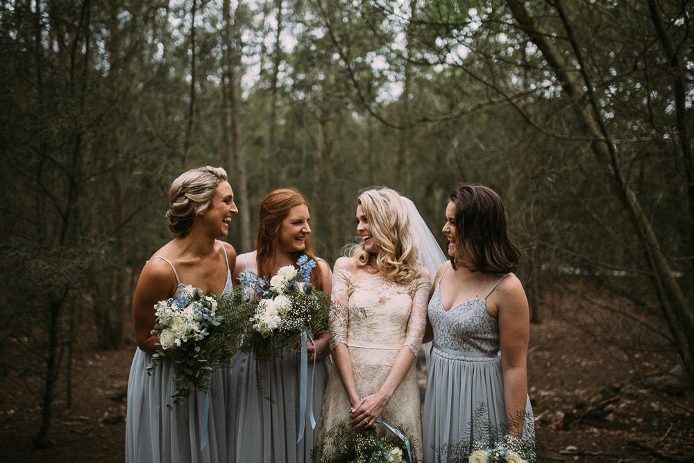 Bridesmaids in Blackeyed Susan Pale Blue Dresses   Image: Hayley Takes Photos