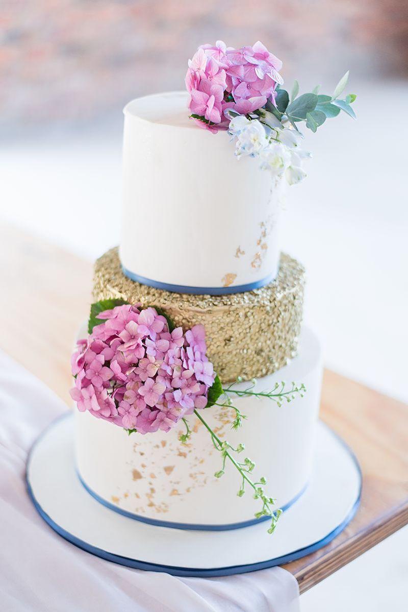 Pink Blue and Gold Wedding Cake | Image: Marilize Coetzee