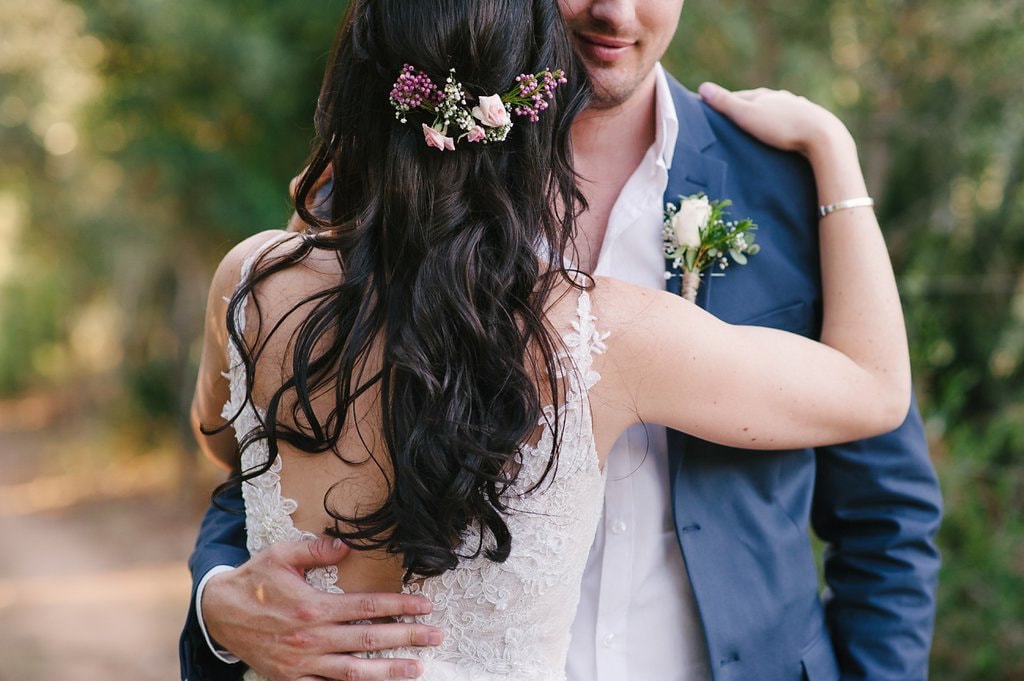 Flowers in Hair for Bride | Image: Cheryl McEwan