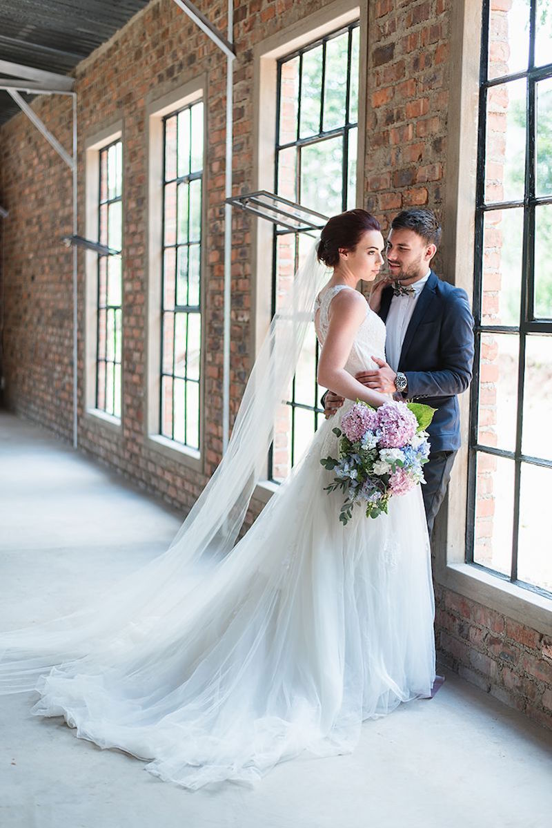 Lace & Tulle Wedding Dress with Long Veil | Image: Marilize Coetzee