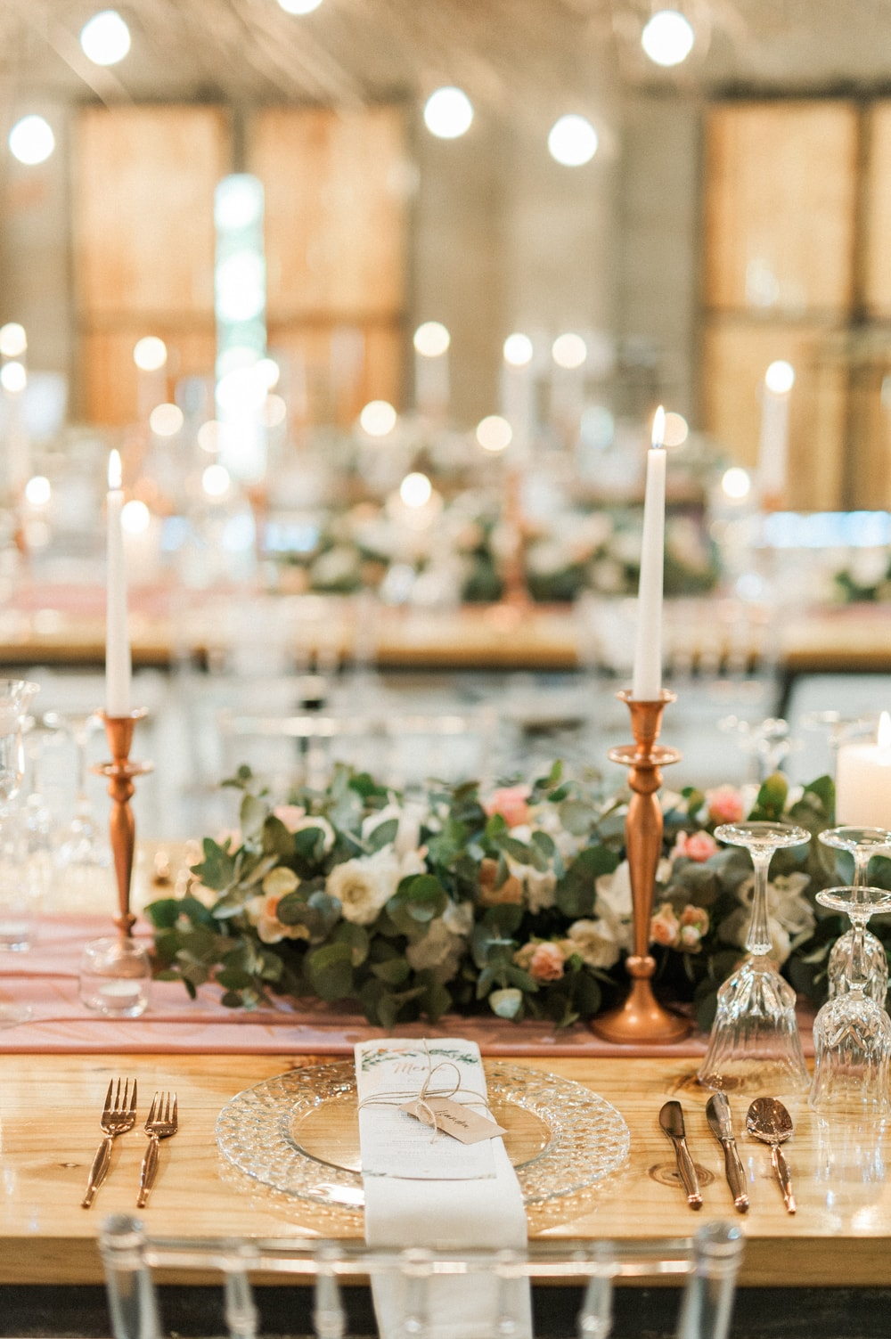 Blush and Rose Gold Table Decor | Image: Bright Girl Photography