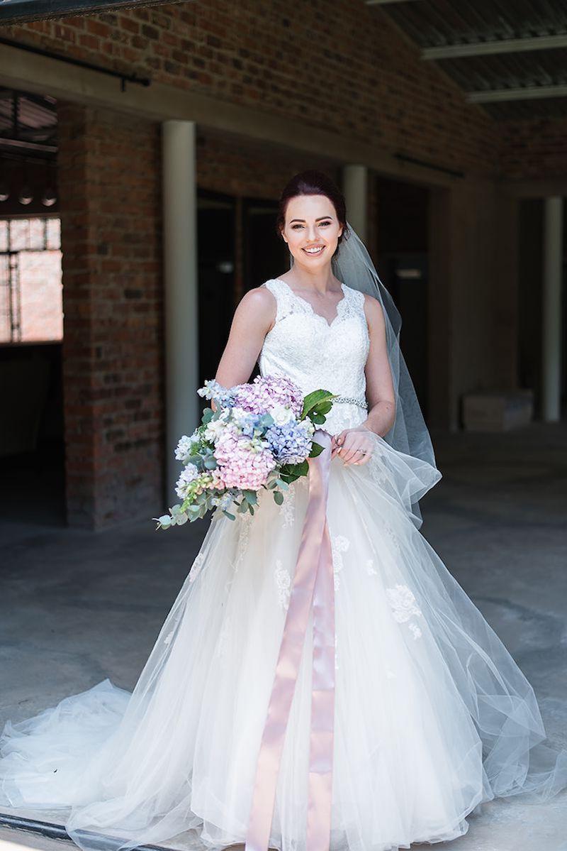 Bride with Pastel Bouquet