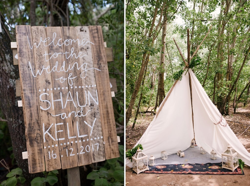 Wood Ceremony Sign and Forest Tipi | Image: Cheryl McEwan