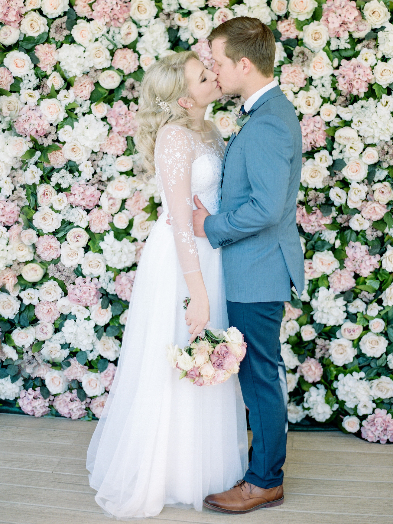 Pink Cream and White Flower Wall | Image: Rensche Mari