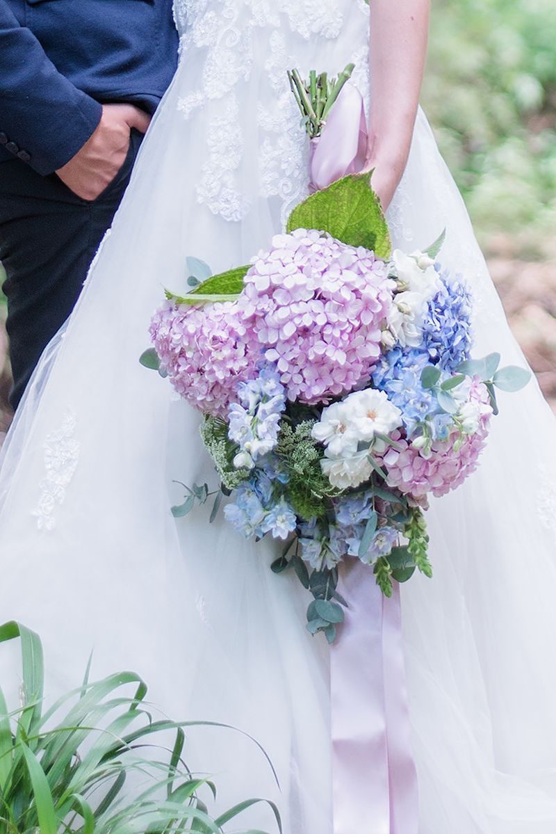 Pink and Blue Hydrangea Wedding Bouquet | Image: Marilize Coetzee