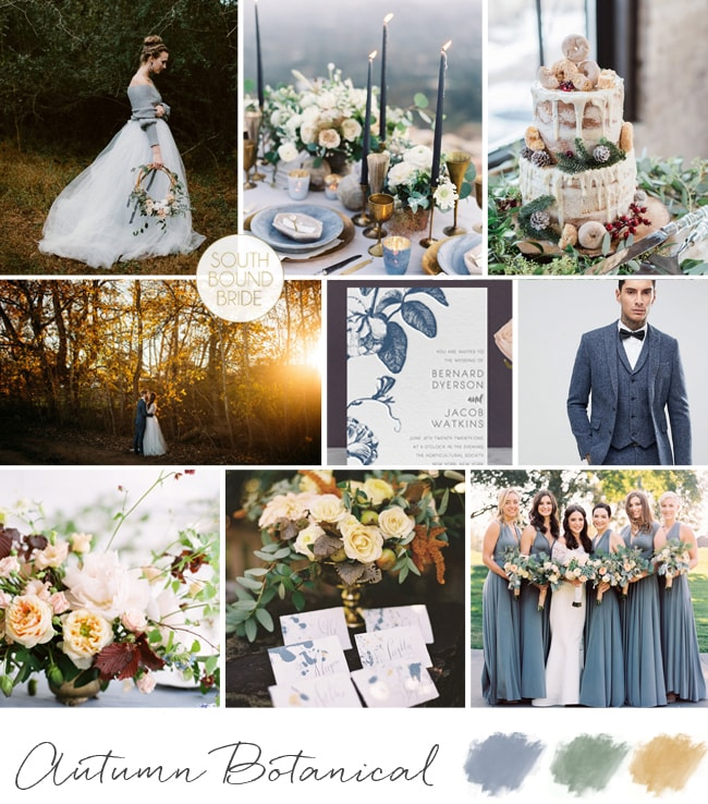 Dusty Blue Autumn Botanical Wedding Inspiration Board | SouthBound Bride