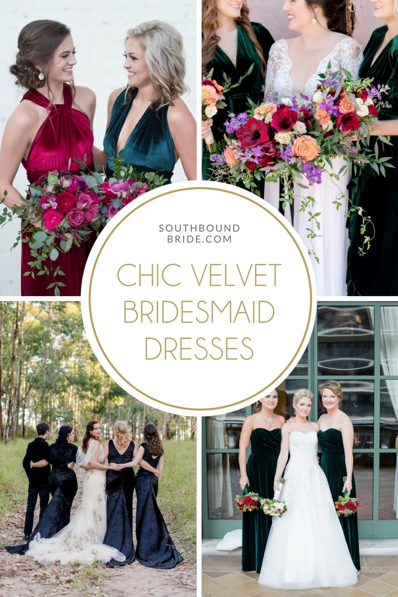 Chic Velvet Bridesmaid Dresses   SouthBound Bride