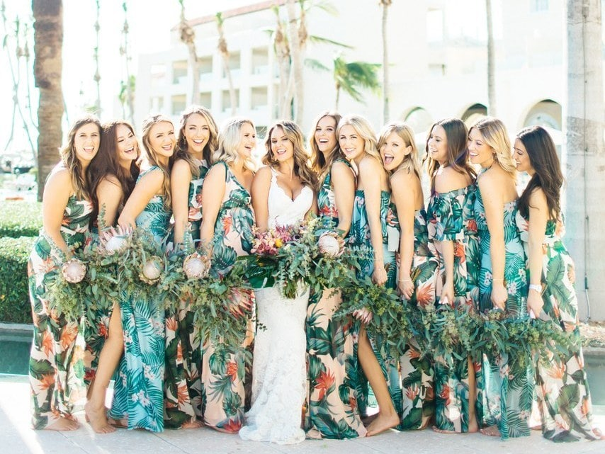 Tropical Print Bridesmaid Dresses Southbound Bride