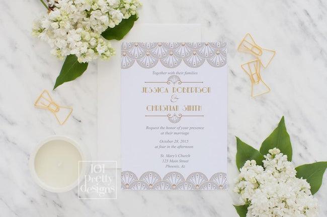 Glam Luxe Wedding Invitation Printable