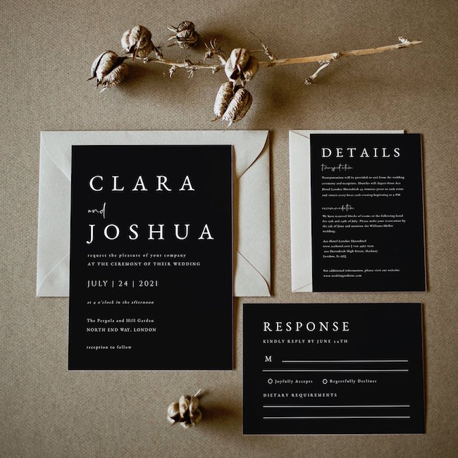 City Chic Modern Wedding Invitation Printable