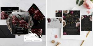 printable dark & moody wedding invitation