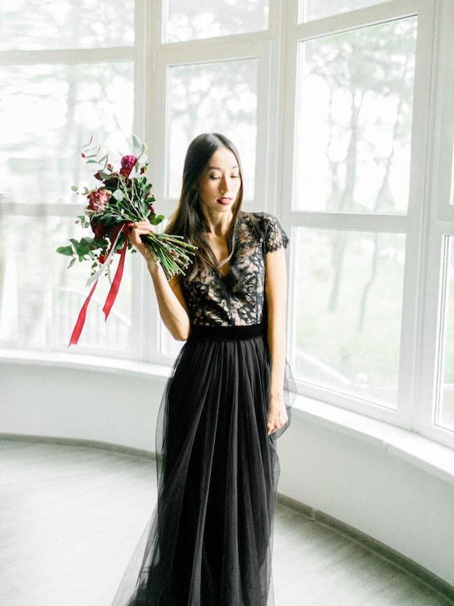15 Chic Black Wedding Dresses for Bold Brides | Black Tulle Wedding Dress by Anna Skoblikova