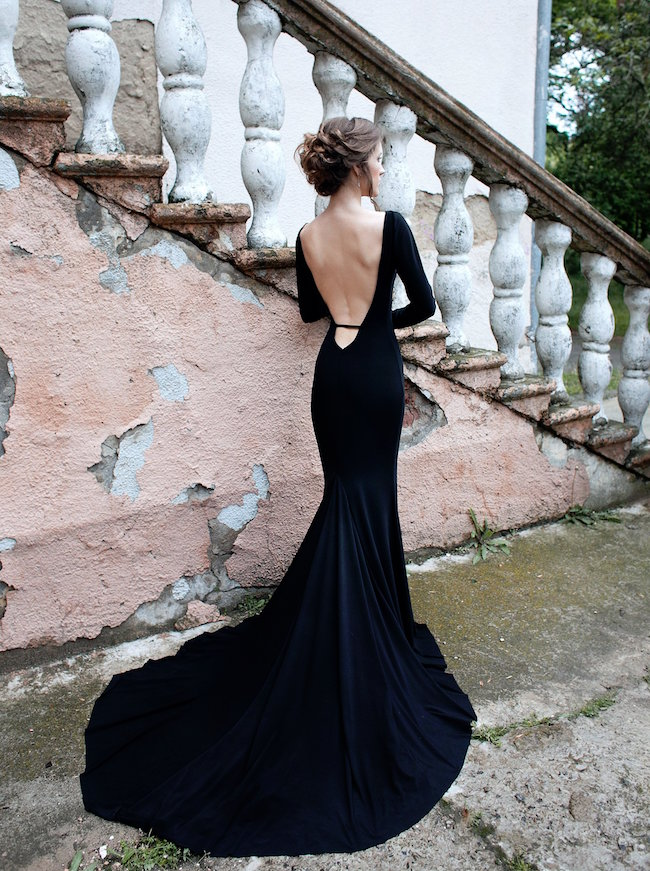 15 Chic Black Wedding Dresses for Bold Brides | Black Open Back Wedding Dress by Dress by DULIANYTSKA