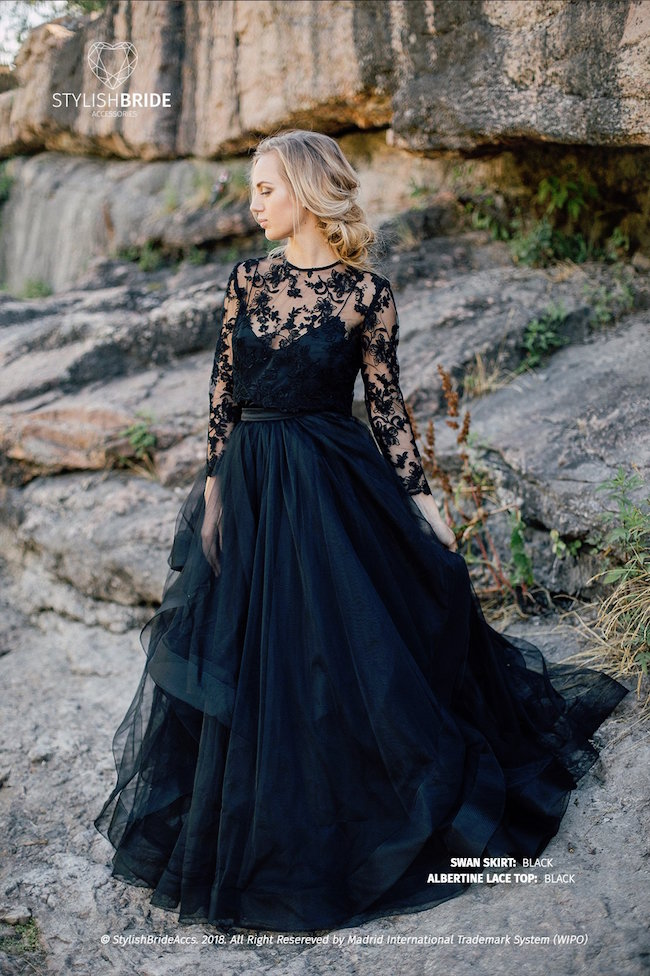 15 Chic Black Wedding Dresses for Bold Brides | Swan Tulle Skirt & Albertine Lace Top by Stylish Bride