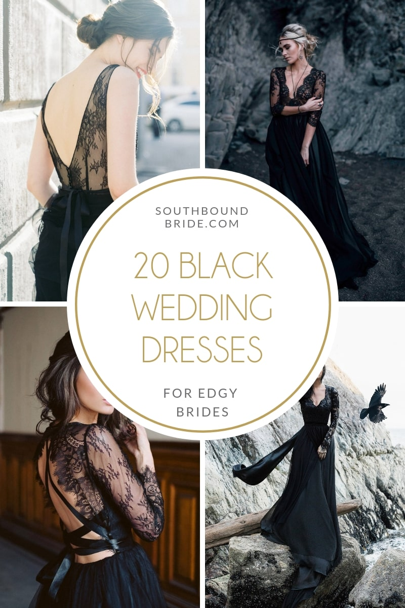 15 Chic Black Wedding Dresses for Bold Brides from Etsy | SouthBound Bride