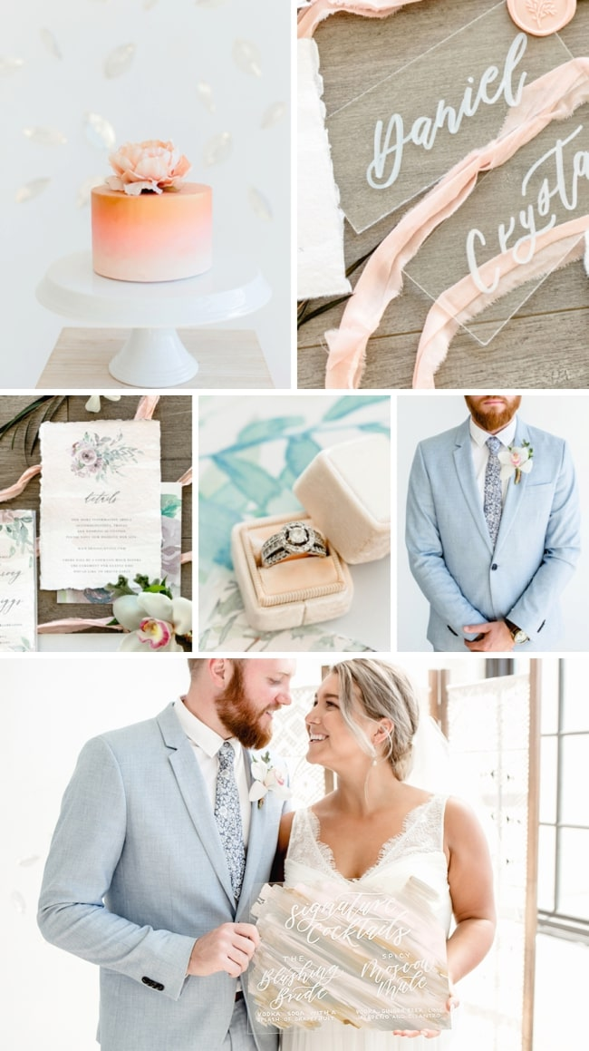 Peach & Osprey Blue Wedding Inspiration by Kara Taylor Photography & Peachy Keen Coordination   SouthBound Bride