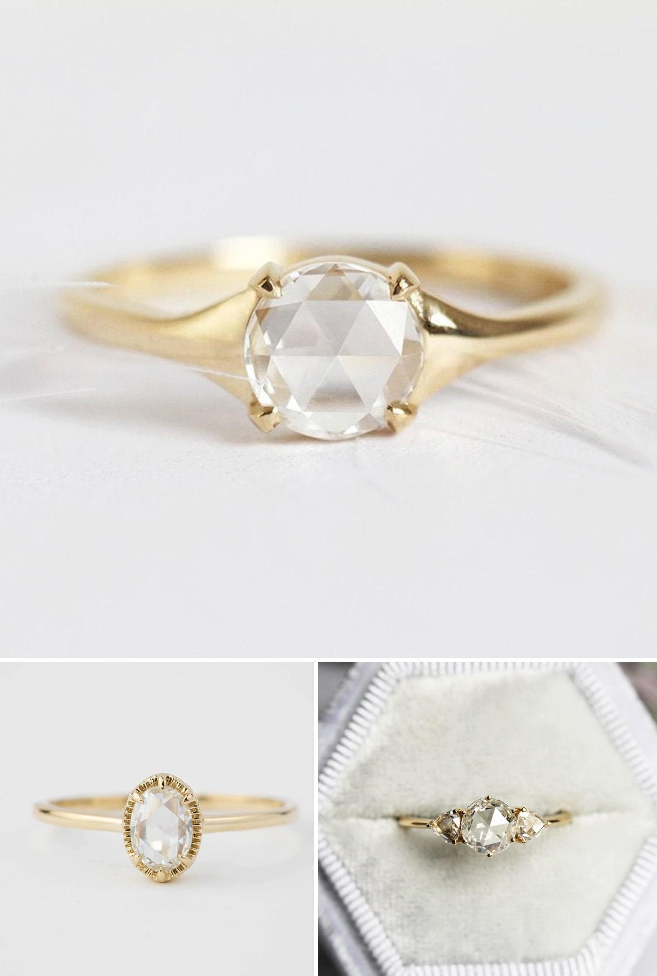 2021 Engagement Ring Trends Rose Cut Diamond Engagement Rings